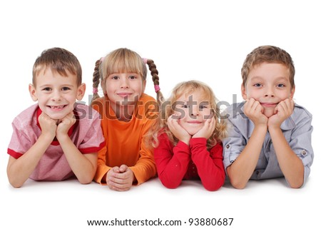 Happy children isolated on white