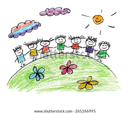 Happy children. Kids drawings