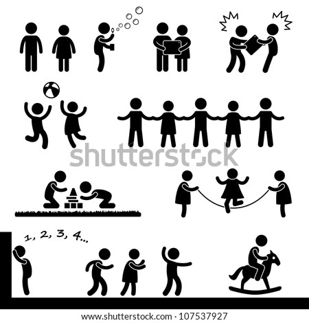Happy Children Playing Icon Symbol Sign Pictogram