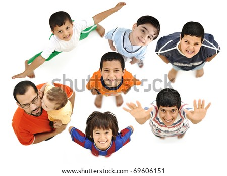 Happy children, positive fresh smiling boys from above, different angle, isolated on white, full body. Father with baby in arms with them.