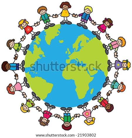 Happy children (variety of skintones) holding hands around the world