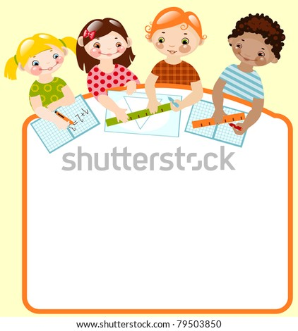 happy children with pencils and rulers.place for your text. Raster version. vector in portfolio