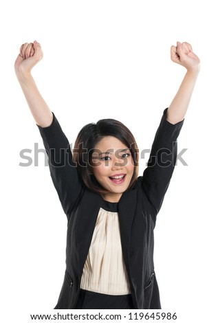 happy Chinese Business woman celebrating with her arms in the air. Isolated on a white background.