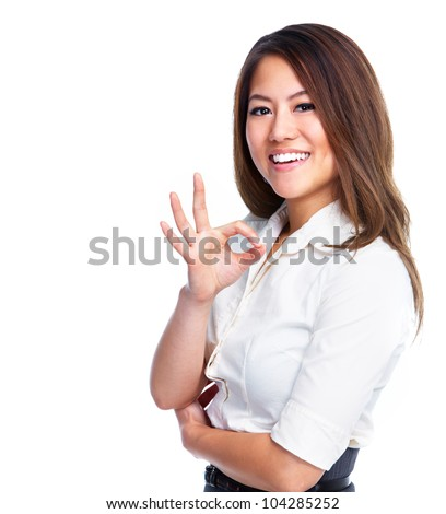 Happy chinese business woman. Isolated on white background.