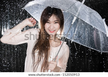 Happy Chinese girl with rain and transparent umbrella
