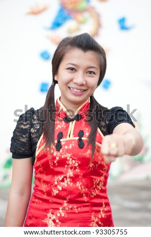 happy Chinese new year - beautiful young Asian woman