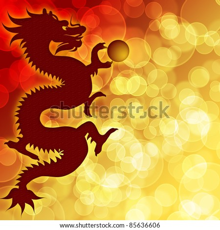 Happy Chinese New Year Dragon with Blurred Bokeh Background Illustration