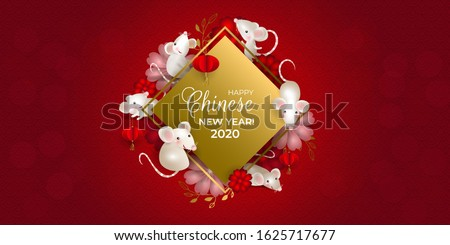 Happy Chinese New Year 2020. Six rats on golden signboard. White mouses, red lanterns, red and pink flowers, dots, red background. For greeting card, invitations, poster, banner. illustration.
