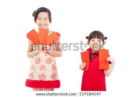 happy chinese new year. smiling asian little girls holding red envelope