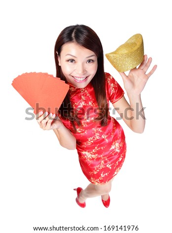 happy chinese new year. smiling asian woman showing gold for lucky. chinese mean get rich and happy