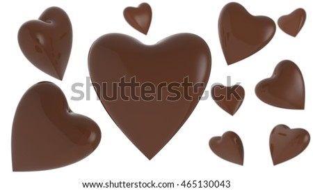 Happy Chocolate Heart. 3D illustration. 3D CG. High resolution. #465130043