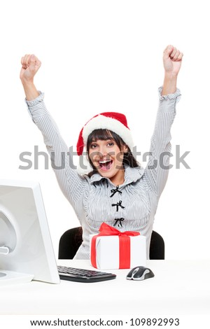 happy christmas businesswoman in office