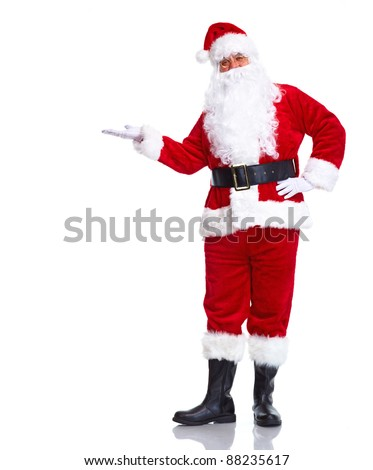 Happy Christmas Santa Claus with a welcome gesture.  Isolated on white background.