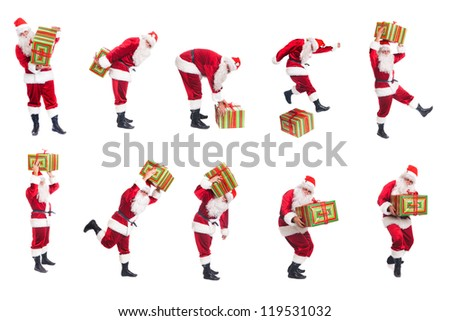 Happy Christmas Santa with gift. Isolated over white background