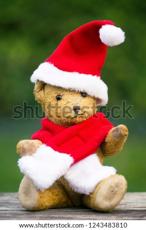 9cfd99f175ee8 Happy christmas toy teddy bear wearing red santa hat - gift for children   1243483810