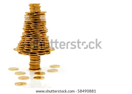Happy  Christmas tree made of gold coins, business metaphor