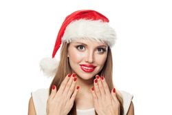 Happy Christmas woman Santa with red manicured nails isolated on white background. Christmas and New Year portrait