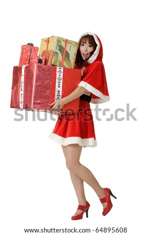 Happy Christmas woman with gifts isolated over white.