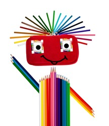 happy colorful guy made of pencilcase and crayons