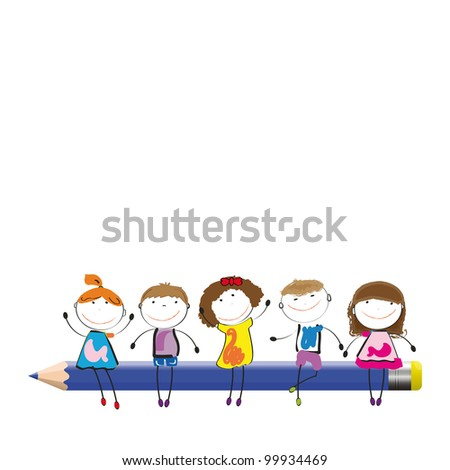 Happy colorful kids on desk with crayon