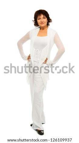 Happy confident senior woman in white isolated