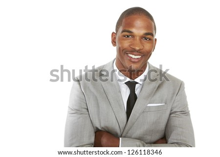 happy confident young african american business male smiling with confidence.