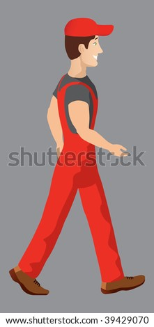 happy construction worker walking to new job