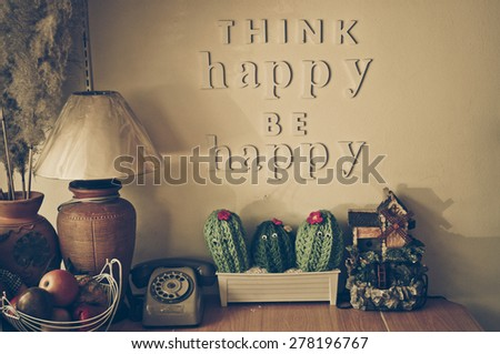 happy corner of a house with words saying think happy be happy