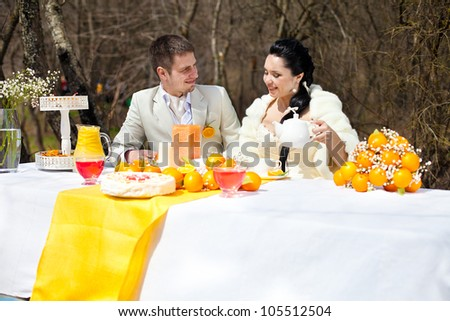 happy couple at the banquet table in the countryside. Wedding Day