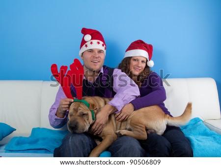 happy couple celebrating christmas wit sharpei dog