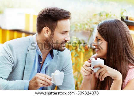 Happy couple in a restaurant having coffee. #509824378