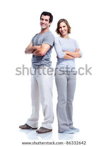 Happy couple in love. Isolated over white background. - stock photo
