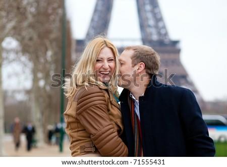 Happy couple in Paris, having fun