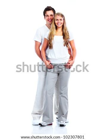 Happy couple. Isolated on white background.
