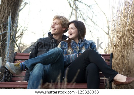 Happy Couple On Bench