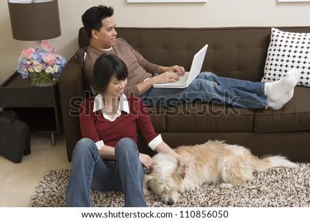 Happy Couple Relaxing Indoors