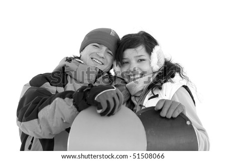Happy couple. Snowboarders in love.