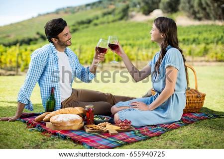 Happy couple toasting wineglasses while sitting on picnic blanket