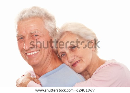 happy couple together on a white background