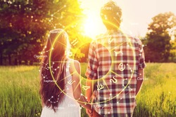 Happy couple with love compatibility between zodiac signs