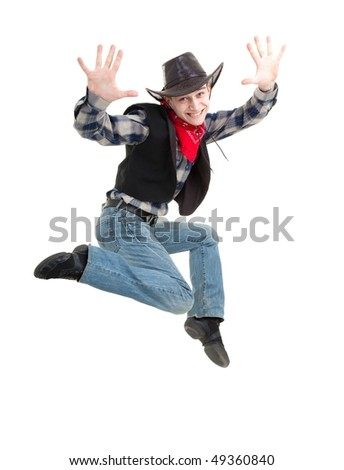 Happy cowboy jumping on a white background