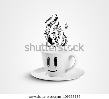 happy cup dream travel on a white background