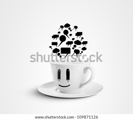 happy cup with speech bubbles on a white background