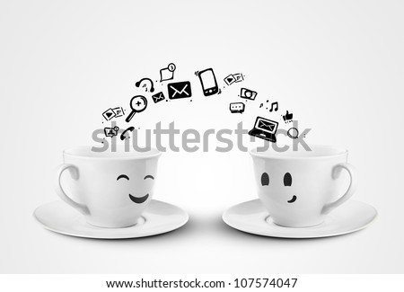 happy cups social media concept. isolated - stock photo