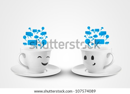 happy cups with speech bubbles