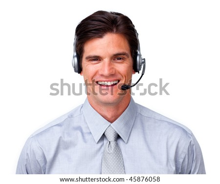 Happy customer service representative with headset on against a white background