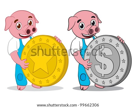 Happy cute cartoon pig holding gold star and silver dollar coin