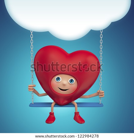 Happy cute funny heart cartoon sitting on swing under the cloud. Valentine day greeting banner. Three dimensional character render