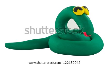 Happy cute green snake made from clay