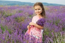 Happy cute little girl is in a lavender field is wearing pink dress holding bouquet of purple flowers